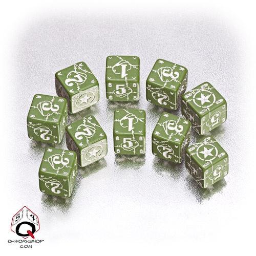 Green-white USA battle dice set