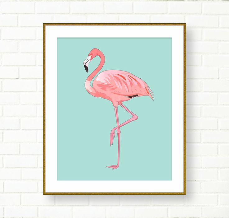 Flamingo Print, Girl Nursery, INSTANT DOWNLOAD, Printable Flamingo Art, Flamingo Poster, Pink Aqua, Tropical, Vanity Decor, Office, Kids Art by PeachAndGold on Etsy https://www.etsy.com/listing/238202776/flamingo-print-girl-nursery-instant