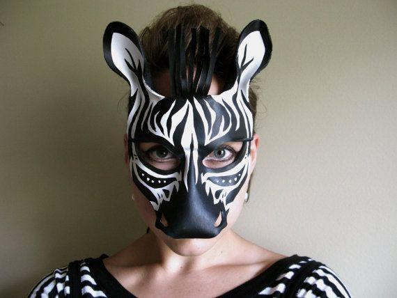 zebra leather mask masquerade mask halloween costume unique costume safari decor - Halloween Costumes With A Masquerade Mask