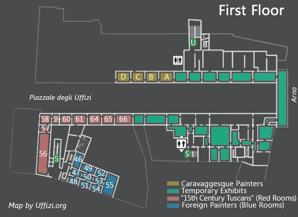 Map Of The First Floor Of The Uffizi Italia