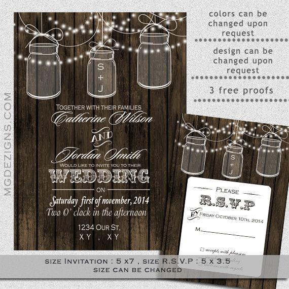 Printable Barnwood String of Lights Outdoor Barnyard Wedding Invitations Templates  #masonjars #weddings #invitations