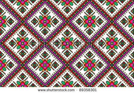 stock vector : seamless embroidered good like handmade cross-stitch ethnic Ukraine pattern