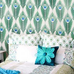 1-peacock-feather-wall-pattern-stencils.  cuttingedgestencils.com
