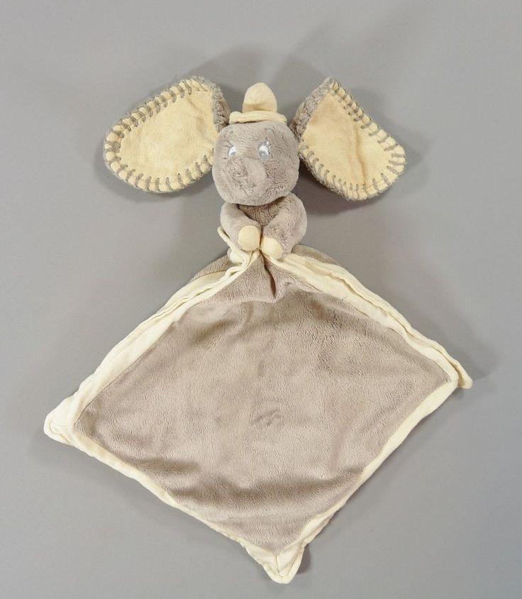 Doudou peluche Éléphant Dumbo gris et grand mouchoir plat Disney Nicotoy 42 cm