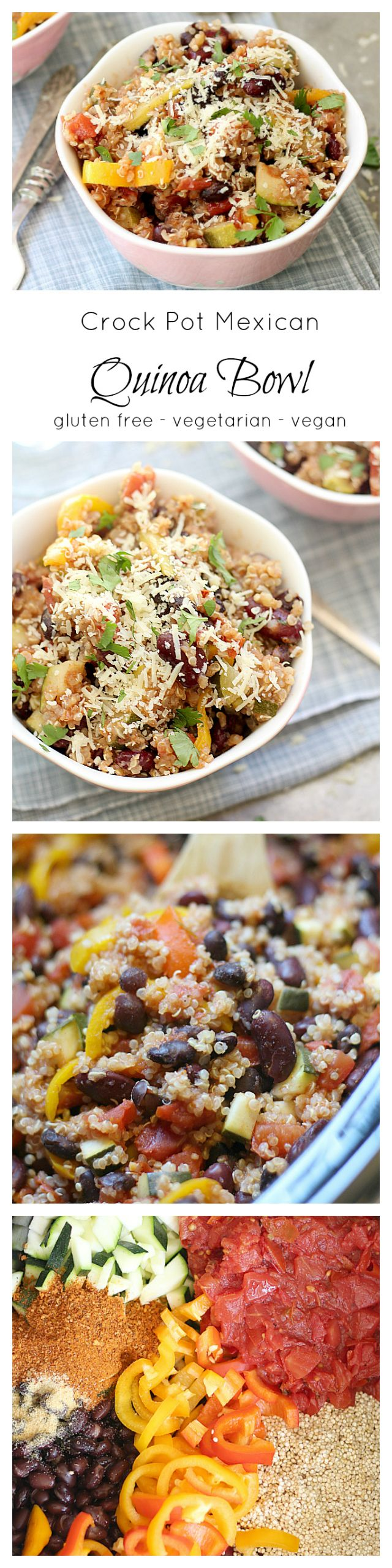 Easy slow cooker quinoa bowl made in the crock pot. Mexican quinoa recipe that is so easy. Toss tomatoes, quinoa, beans, peppers, taco seasoning in the crockpot. Simmer 4-6 hours and ready to serve!