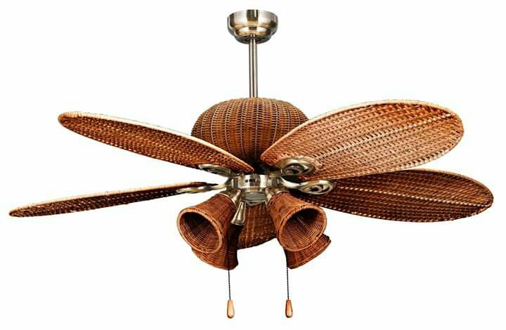 Rattan Fan With Bulb Cup Lights Ceiling Shades Bulb Pendulum