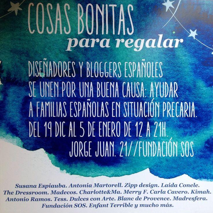 COSAS BONITAS  para regalar.  Estaremos en la calle Jorge Juan 21  del 19 dic al 5 de enero.  Es por una buena causa.  Ayudar a Familias en situación precaria .