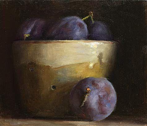 daily painting titled Nature morte aux pruneaux et faisselle - click for enlargement