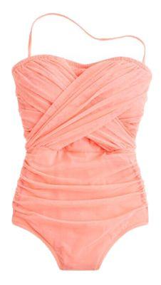 Light pink draped one-piece