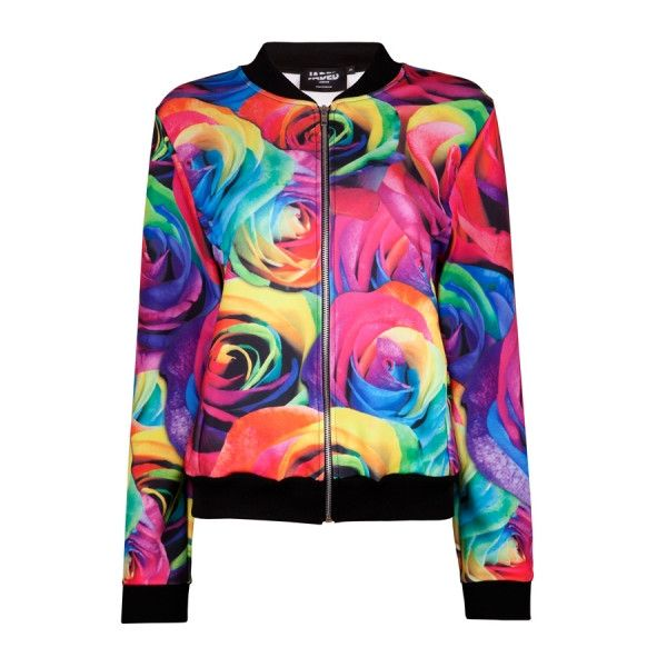 Rainbow Rose Bomber Jacket (5.755 RUB) ❤ liked on Polyvore featuring outerwear, jackets, blouson jacket, patterned bomber jacket, bomber jackets, rainbow jacket and rainbow bomber jacket