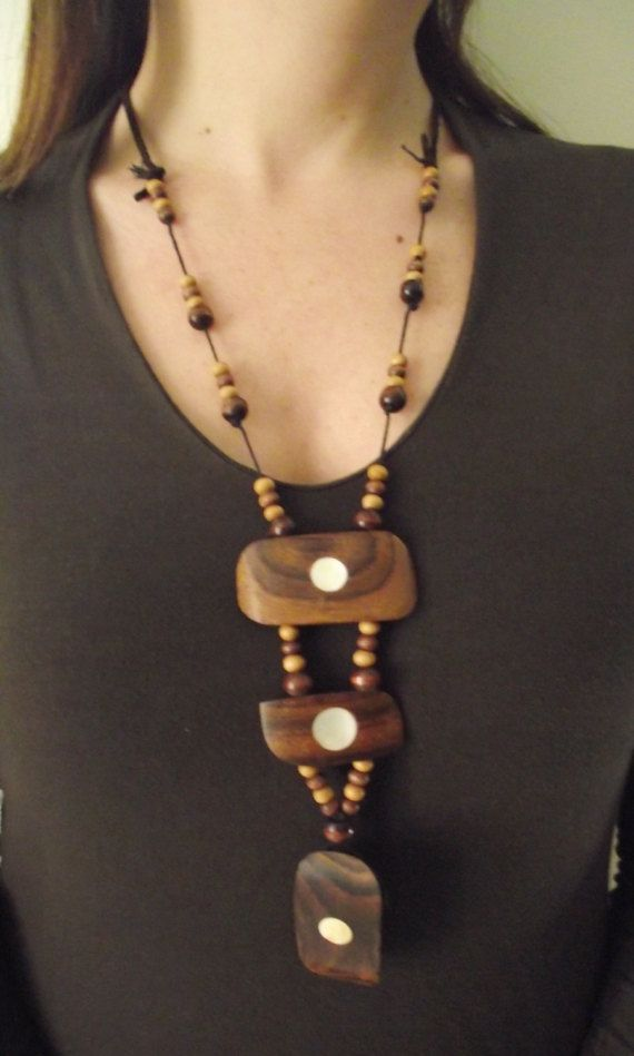 Wooden Bib Necklace by MaryLooGifts on Etsy