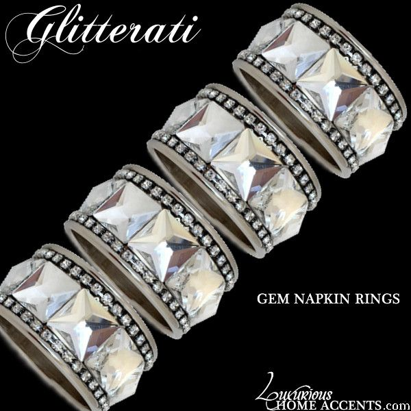 Luxurious Wedding Gifts | Luxury Engagement Gifts | Wedding Gift Ideas — Glitterati Silver Gem Napkin Rings