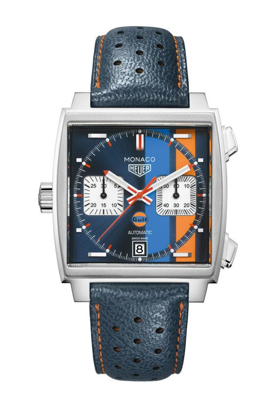 The TAG Heuer Monaco Gulf Special Edition is a modern descendant of the Heuer Monaco Ref. 1133B worn by Steve McQueen in the 1971 film, Le Mans.