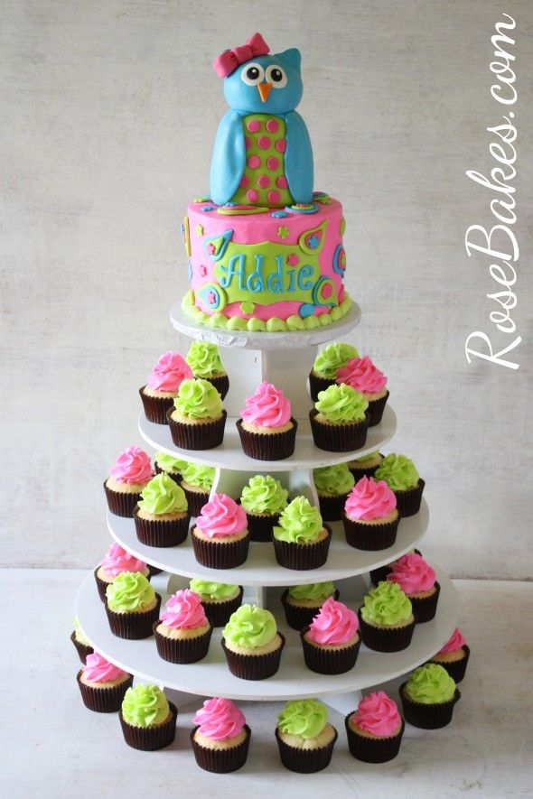 Owl & Paisleys Cake and Cupcake Tower.  Click to see more pics and details!