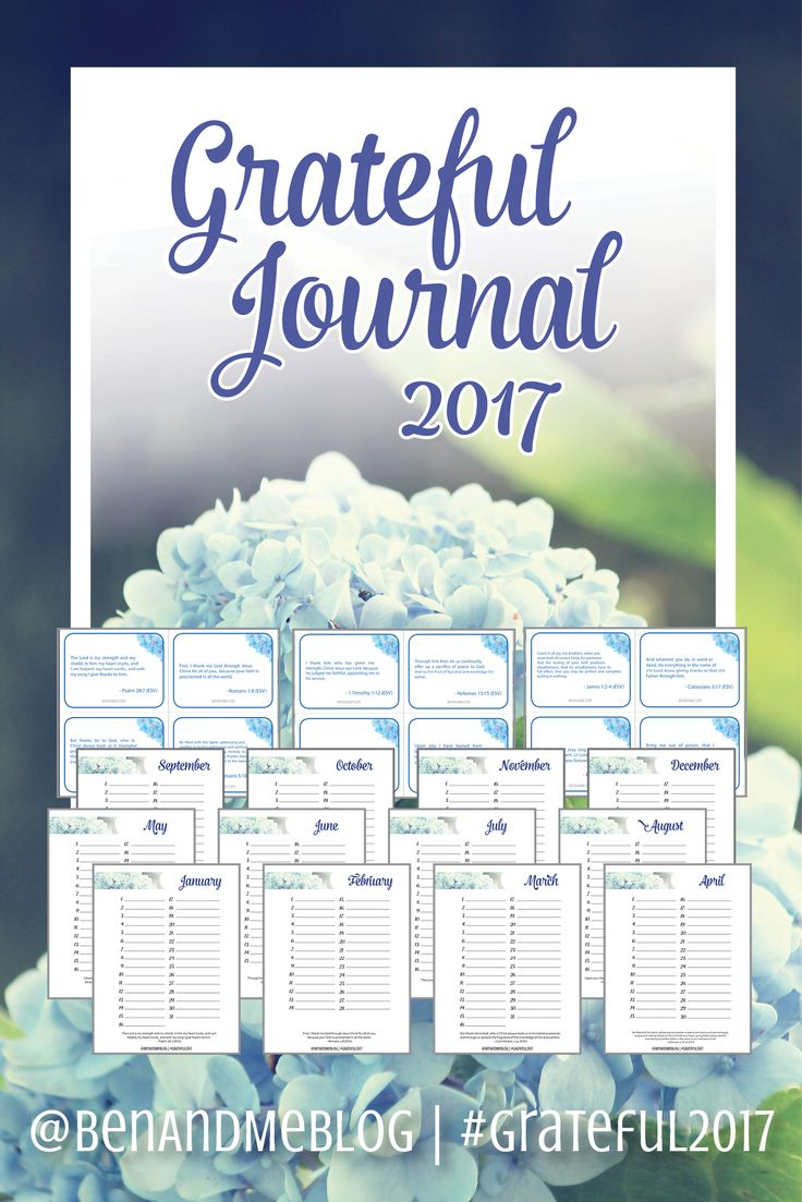 FREE! Grateful Journal 2017 -- Included with the journal are Scripture cards with 12 brand new verses about gratitude. The concept is simple. Just write down one thing for which you are grateful each day. At the end of the year, you will have recorded 365 beautiful blessings, and memorized 12 grateful verses.