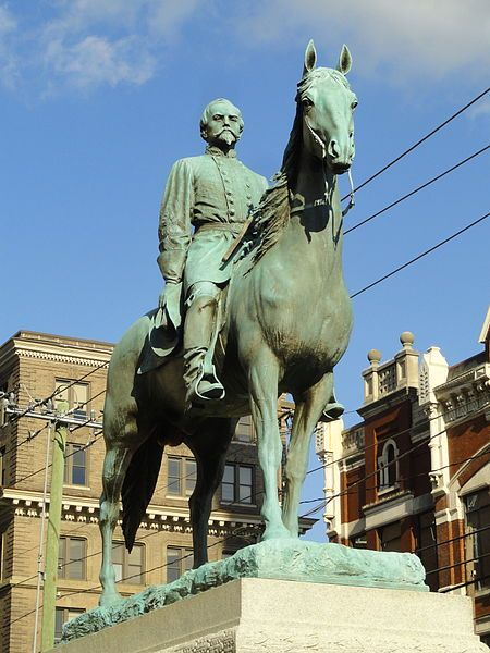 """The John Hunt Morgan Memorial in Lexington, KY, is a monument created in 1911 as a tribute to Confederate General John Hunt Morgan, who was from Lexington & is buried in nearby Lexington Cemetery. Of the monuments of the American Civil War in KY, it is the only one with a soldier on horseback. Morgan's horse, Black Bess, was a mare, but sculptor Pompeo Coppini thought a stallion was more appropriate. He said, """"No hero should bestride a mare!"""" Therefore, Coppini added the necessary testicles."""