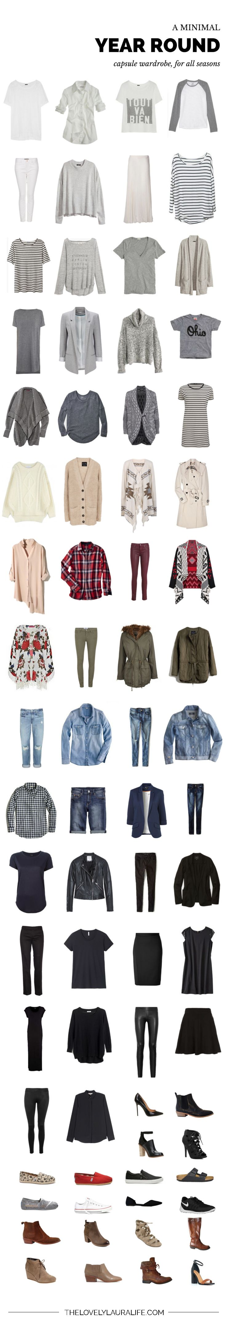 One of the best examples of a capsule wardrobe that I've seen!