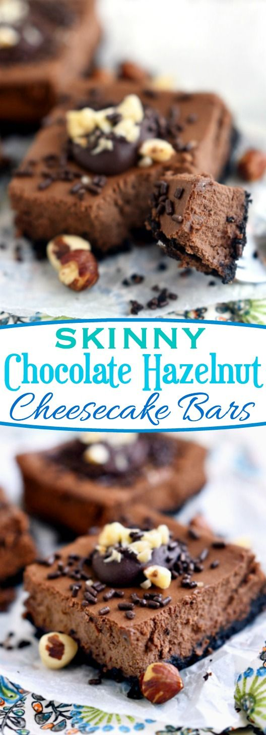 These Skinny Chocolate Hazelnut Cheesecake Bars taste utterly decadent but are made with Greek yogurt and light cream cheese so you can enjoy them without the guilt! The perfect treat! // Mom On Timeout