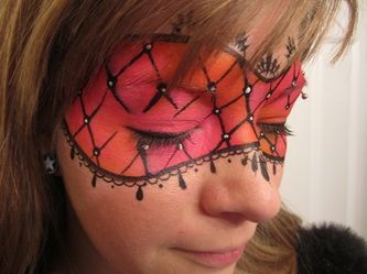 Lace mask in orange and pink, face paint - INSPIRATION ONLY