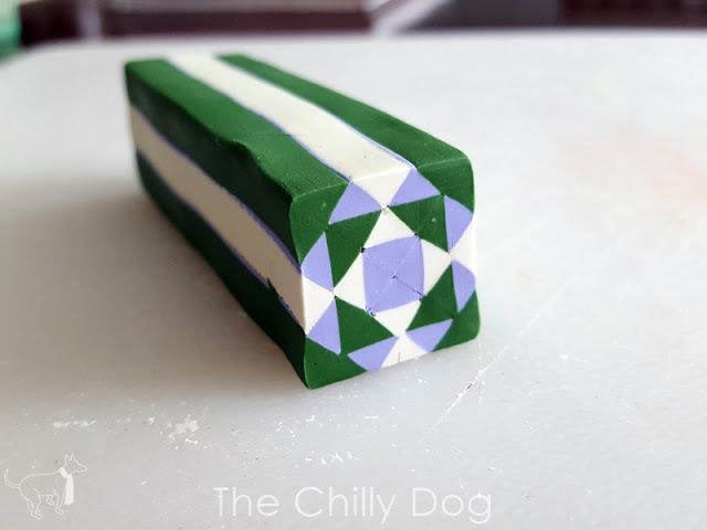 Learn how to make a quilt block inspired polymer clay cane using Sculpey clay.