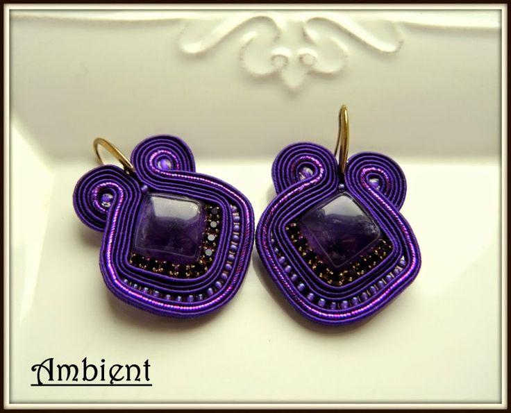 Purple soutache earrings with amethyst http://www.ambient4you.blogspot.com/2015/01/95-monochromatycznie-fioletowo-kolczyki.html