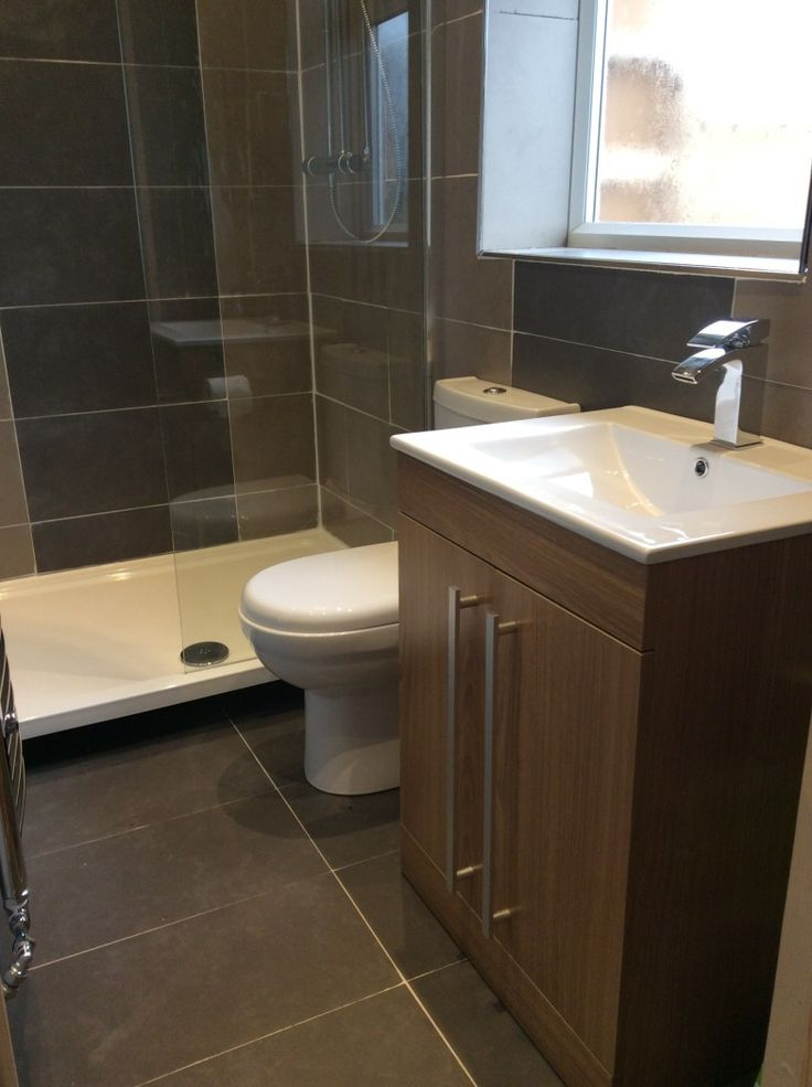 Vpshareyourstyle Julie From Milton Keynes Uses A Walnut Finished Basin Unit And Dark Tiles To