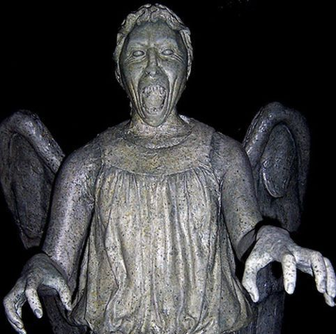 """Don't Blink """"The Weeping Angels""""    From Dr. Who - The MOST suspenseful TV episode I've ever seen. I was shaking when i finished it! :)"""