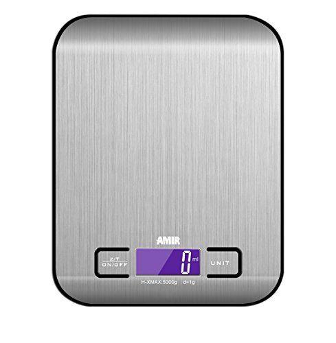 Amir Digitale K�chenwaage,K�chenwaage, Briefwaage, Hohe Pr�zision auf bis zu 1g (5kg Maximalgewicht), Tara-Funktion, mit 1-g-genauer Teilung und Gro�em LCD-Display, Inkl. Batterie (Schwarz)