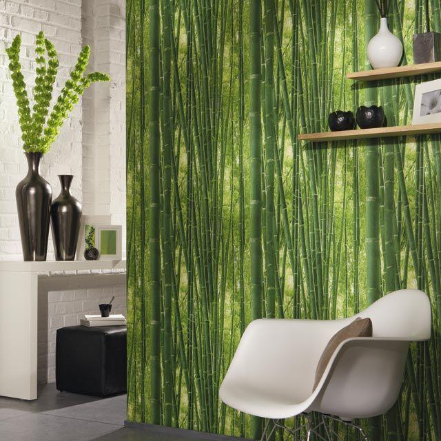 Papier peint Fôret de bambou vert - CASTORAMA