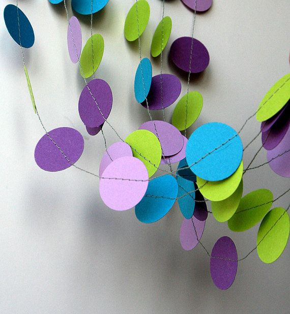Mermaid party decoration - Purple lilac blue turquoise and lime green - Birthday decoration - Paper garland - Mermaid birthday by TransparentEsDecor