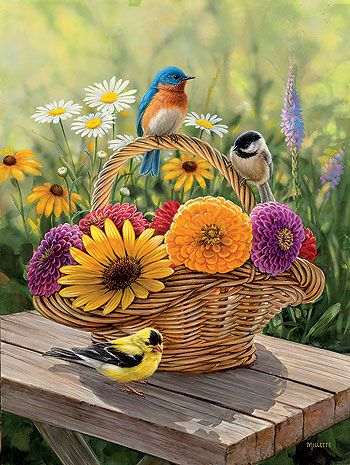 A Summer Bouquet - Songbirds Original Painting by Rosemary Millette