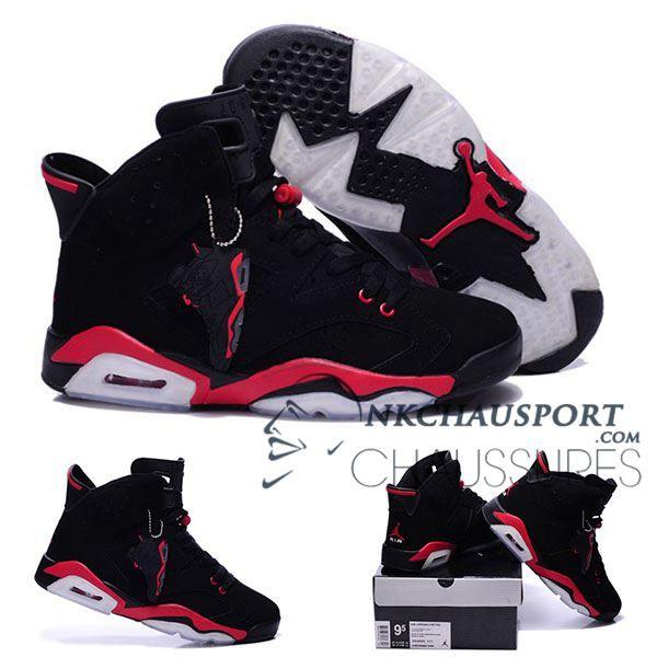 factory authentic 4c117 7408a ... Nike Air Jordan 6  Classique Chaussure De Basket Homme Noir Rouge-2 ...