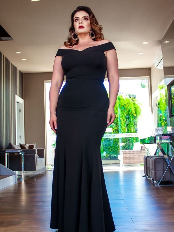 a7c0c4c3b vestido de festa preto longo plus size | prendas de vestir y ...