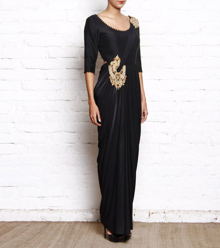 Black & Golden Embellished Silk & Lycra Drape Saree Gown