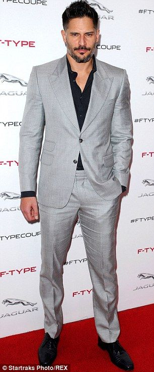 Suited and booted:  Joe Manganiello wore pale grey with a black shirt