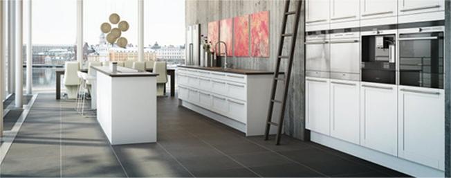 CC Höganäs. Stone floor kitchen