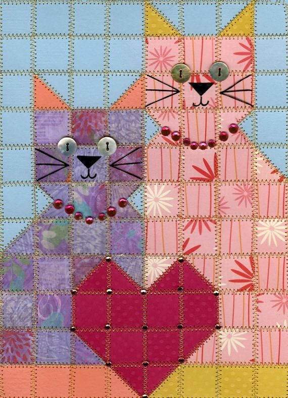 One Stop Paper Quilt Shop. cat lovers perfect birthday card.
