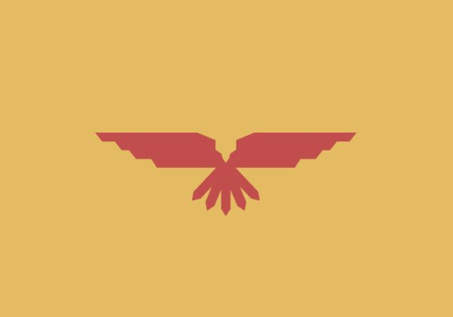 """New Mexico  """"The Mexican eagle on this flag was inspired by an ancient Aztec myth and symbolizes that New Mexico treasures its Spanish, Mexican and Native American traditions. The official colors of New Mexico are the red and yellow of old Spain, unmistakable on this new flag."""""""