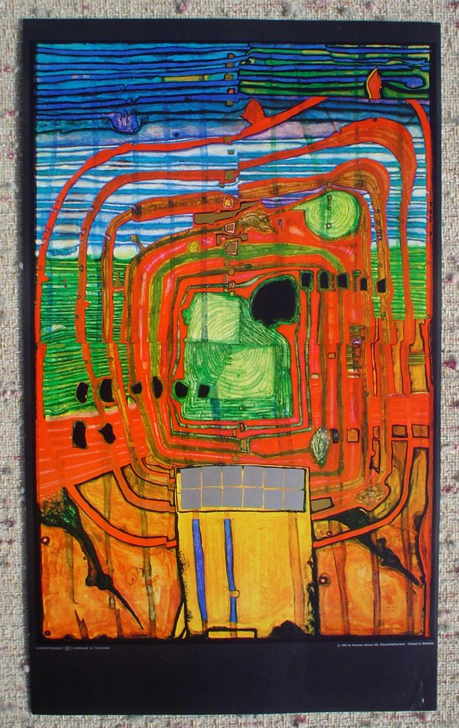 Hommage Au Tachisme By Friedrich Hundertwasser, Shown With Full Margins    Offset Lithograph Fine Art