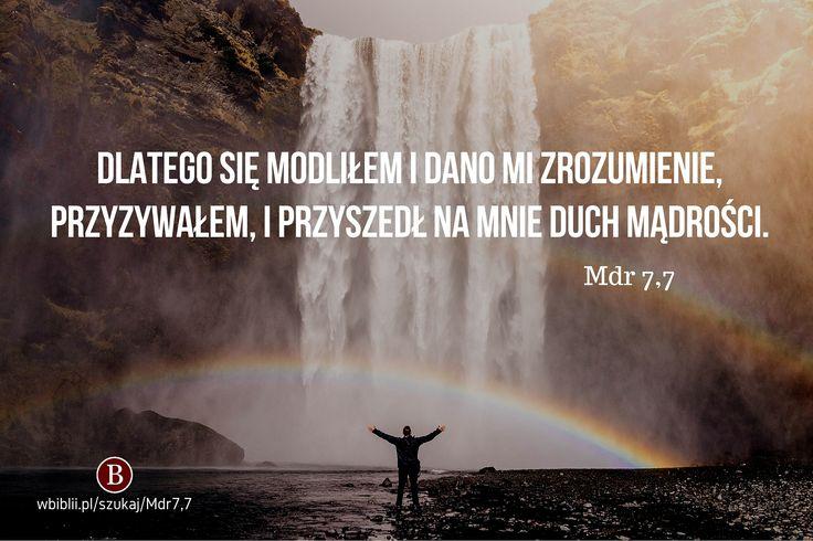 Dlatego się modliłem i dano mi zrozumienie, przyzywałem, i przyszedł na mnie duch Mądrości*. https://wbiblii.pl/szukaj/Mdr7,7