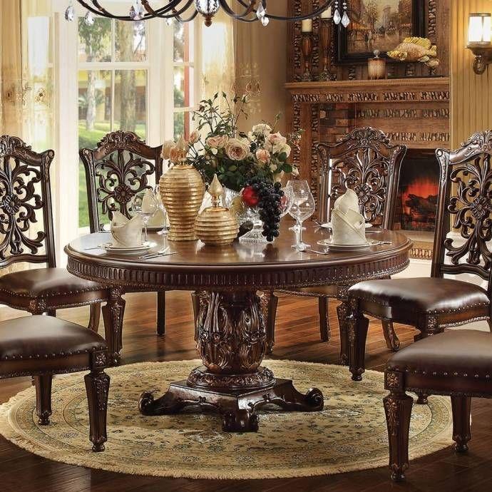 Victorian Cherry 60 Round Dining Table Set 8 Pcs Acme Furniture Vendome 62015 Vendome 62015 Set 8 Round Pedestal Dining Round Pedestal Dining Table Round Dining Table