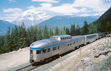 blog - train travel across canada with schedules routes and fares - The Toronto-Vancouver 'Canadian' 'Park' car at the rear