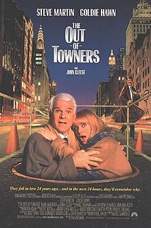 The Out-of-Towners is a 1999 film starring Steve Martin and Goldie Hawn. The movie is a remake of a 1970 film by the same name; the original version, written by Neil Simon, starred Jack Lemmon and Sandy Dennis. There are subtle differences from the original, such as the couple's credit card being declined at the hotel (instead of their room being given away as in the original), but the script is largely faithful to the 1970 version.