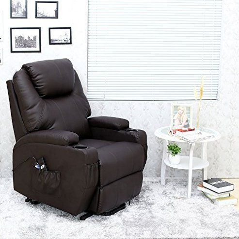 Cinemo Electric Rise Recliner Brown Leather Massage Heated Armchair Lounge Sofa Leather Recliner Chair