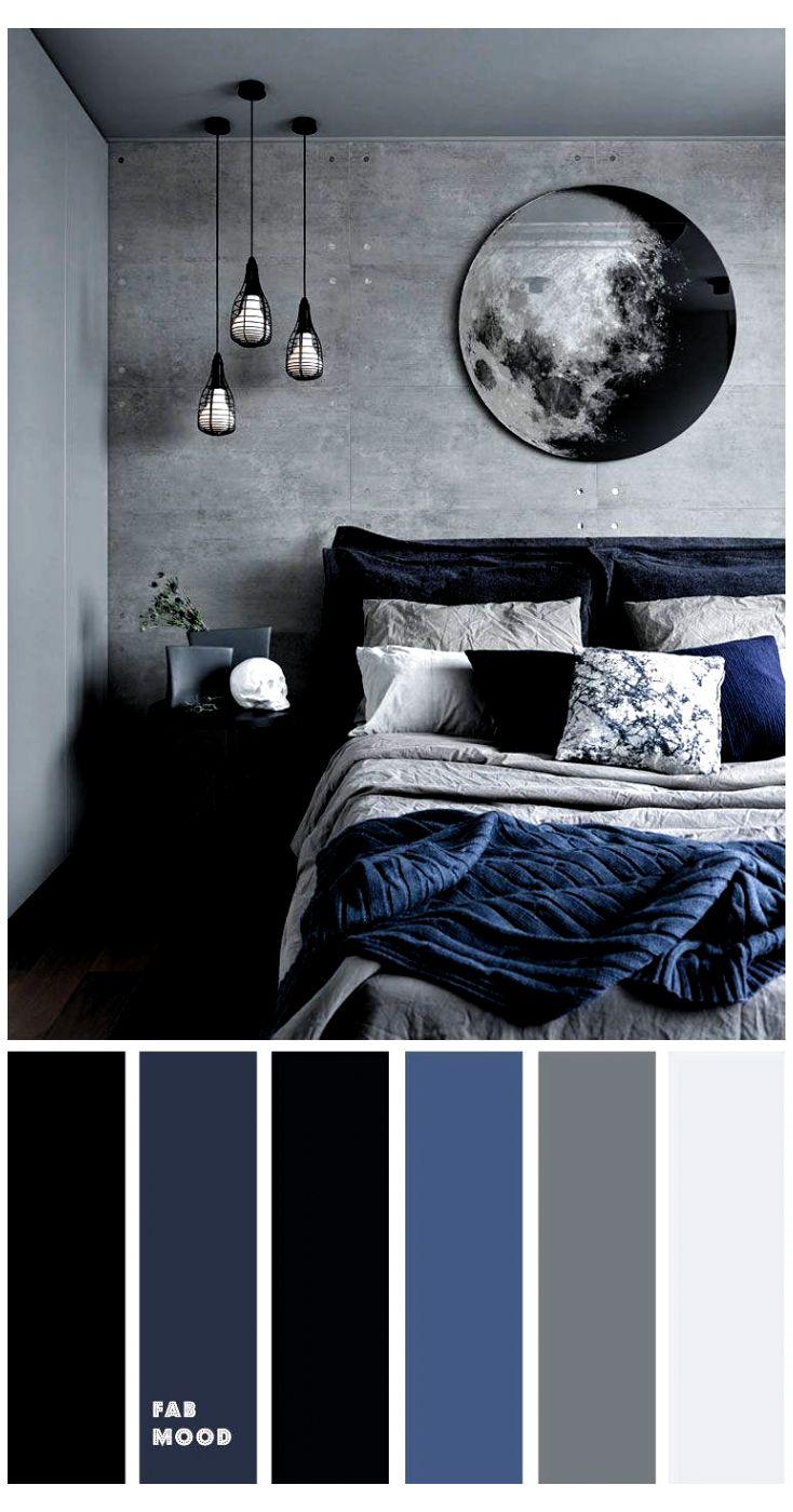Grey Bedroom Colors, Dark Blue Bedrooms, Bedroom Colour Palette, Black Rooms, Bedroom Color Schemes, Dark Cozy Bedroom, Black And Grey Bedroom, Navy Bedrooms, Peaceful Bedroom