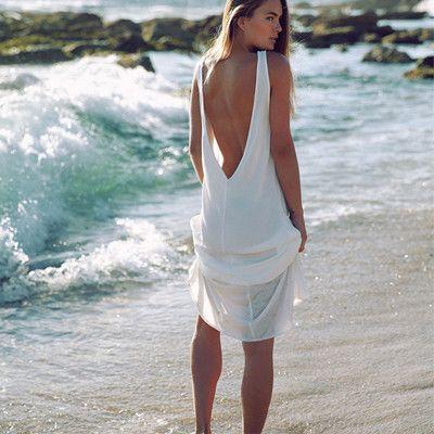 Long white beach dresses