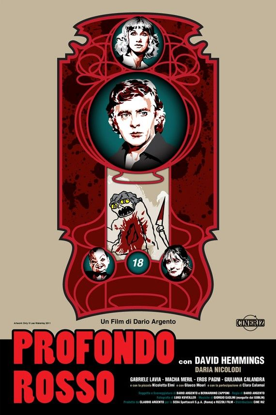 David Hemmings and Daria Nicolodi in the classic Dario Argento chiller/thriller/giallo Profondo Rosso. Digital Print by DadManCult, $15.99