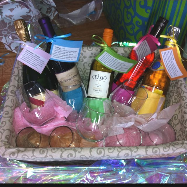 LOVEE THIS    Bridal shower wine basket idea! 5 bottles of wine each with a poem for firsts: champagne for first night married, red wine for first fight, white wine for first Christmas eve, rosé for first anniversary & sparkling apple juice cider for first baby!! Then you can add champagne flutes or wine glasses, 4 white wine glasses and 4 red wine glasses, the stemless ones are classy yet casual!