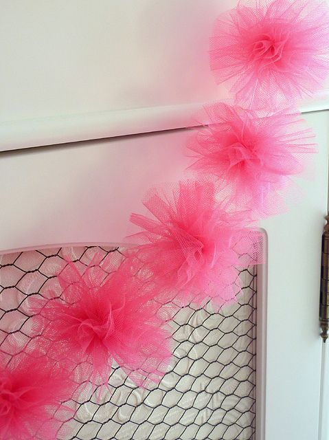 DIY: Tulle Pom Pom Ball...Then just string them on fishing line.