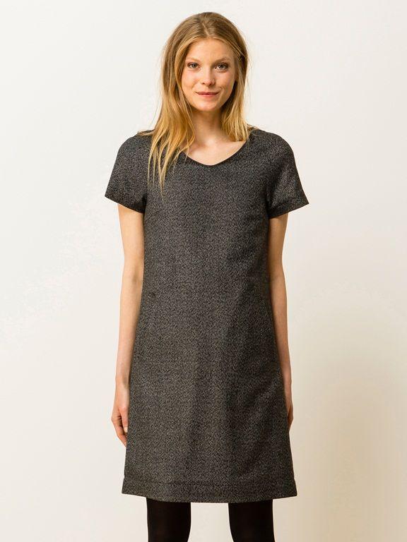 Robe tweed encolure V longueur genou, GAUJACQ - ANTHRACITE - 6